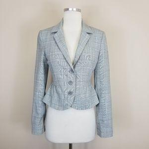 Express Gray Blue Plaid Blazer Jacket